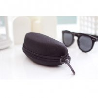Semi Hard Black Eyeglass Case with Zipper and Belt Clip