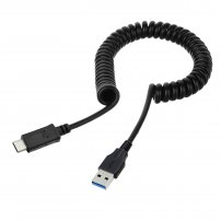 3.3ft / 1m Long Coiled Retractable USB-C to USB 3.0 Type-A Cable for SmartPhone Charging / Data Sync
