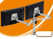 "Fully Adjustable / Articulating Alu-Alloy Dual Arm Computer LCD Monitor Desk Mount for 27"" Screen"