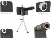 Wide Angle + Fisheye + 8X Telephoto Lens Combo for iPhone 4 / 4s