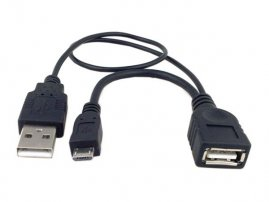 Micro USB OTG Host Cable with Extra Power for Card Readers