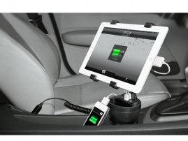 Cup (iPad) Holder Socket Mount with Dual USB & Cigarette Sockets for iPhone / iPads / Galaxy Notes