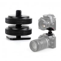 Metal Hot shoe to Tripod Adapter 1/4 inch Screw With Double Layer for Camera Tripod Head Microphone