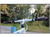 Felxible Bike Handlebar Rear View Mirror with Red Safety Reflector