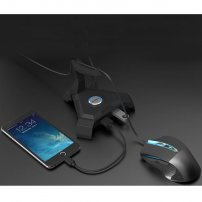 Cool Black Gaming Mouse Cable Stand (Mouse Bungee) and 4-Port USB Hub with Cool LED