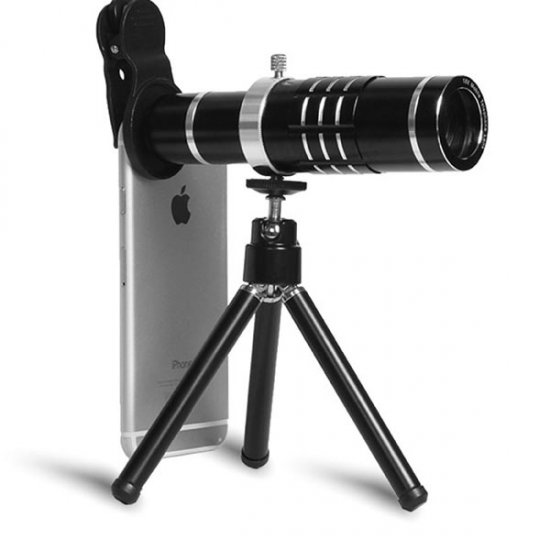 Cloth-Clip 18X Telephoto Lens for Camera Phones / Tablets (iPhone / iPad / Galaxy Phones) - Click Image to Close