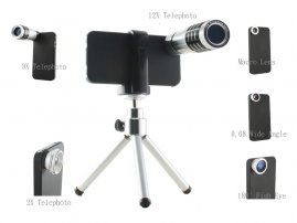 Wide Angle / Fisheye / 2x/9X/12X Telephoto Lens for iPhone 4/4s