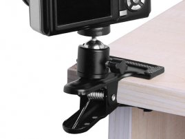 "Multi-function Spring Clamp / Mount w/ 1/4"" Ball Head for Camera / DSLR / VideoCam / Flash Reflector"
