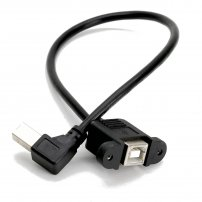 Panel Mount USB B Female to Right-Angle USB B Male Extender Cable for Equipment / Instruments