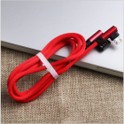 Nylon Braided USB Charge Cable: Right Angle USB A male to Right Angle Micro USB male Extension Cable