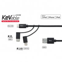 Torrii KeVable 3 in 1 Cable (MFI Lightning Cable for iPhone / iPad / iPod)