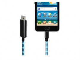 Visible LED Flowing Blue light Micro USB Charging & Data Sync Cable for Android Smartphones
