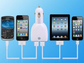 4 USB Port Car Charger for iPad / iPhone, Samsung Galaxy S, Note / HTC / LG / Sony Xperia Cell Phone