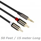 50 Feet (15 Meters) 3.5mm Aux Audio Male to RCA Male Stereo Audio Extension Cable