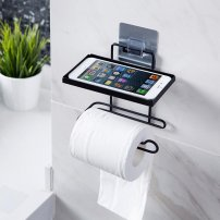 Wall Mount Toilet Paper, Towel Holder / Kitchen Roll Holder w/ Mobile Phone, Watch, Key Storage Rack