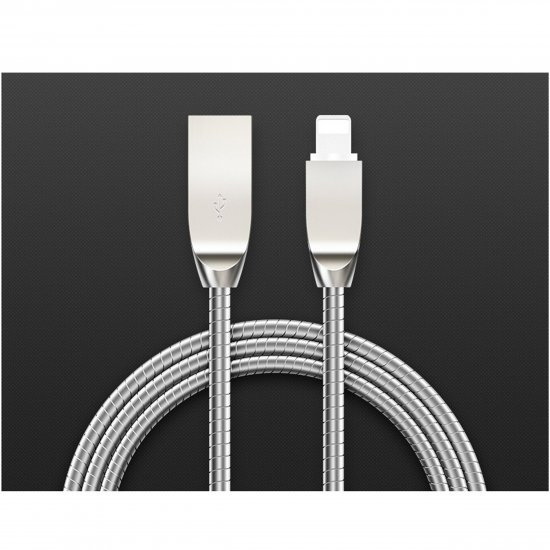 Low Profile Tangle-Free Aluminum Sleeve Lightning Cable for iPhone / iPad / iPod - Click Image to Close