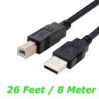 Black 26 feet (8M) EXTREME Long USB Type B Extension Cable for Printers, Scanners, Fax, Copiers