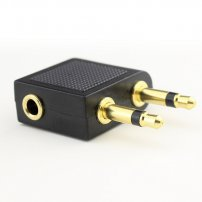 Angled Airplane Headphone Adapter (Twin 3.5mm Mono Plug) to 3.5mm Stereo Jack for Headphones