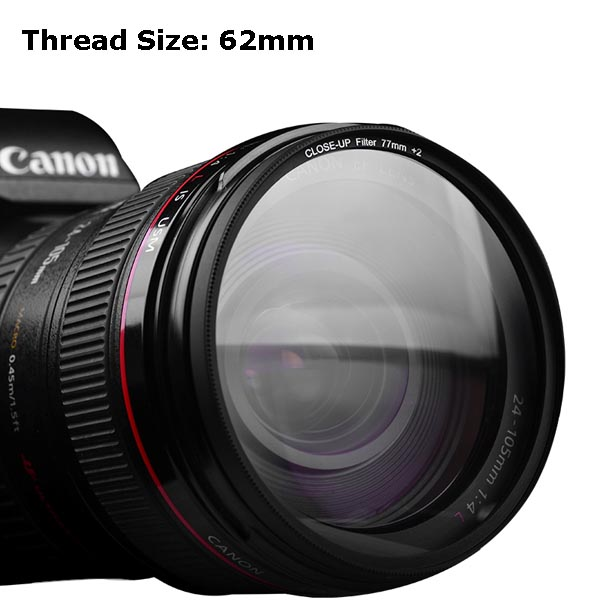 Multi-Coated 62mm Close-Up Lens Filter / Macro Lens Optical Filter +8