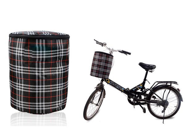 2-in-1 Foldable Fabric Plaid / Canvas Bike / Bicycle Basket / Waterproof Shopping / Accessory Bag
