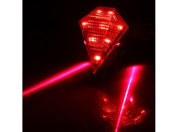 Waterproof Cycling / Bike / Bicycle Tail Light / Safety Rear Warning Lamp (8 LED with 2 Laser Beam)