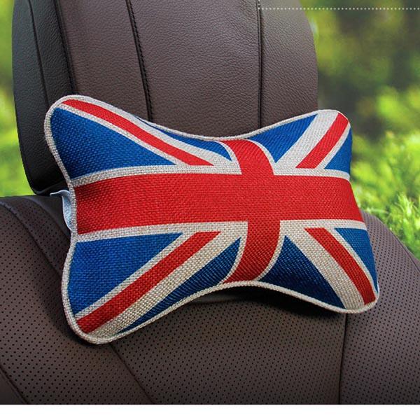 UK / France / USA National Flag Car Neck Pillow / Head Neck Rest Cushion / Headrest Pad (Linen)