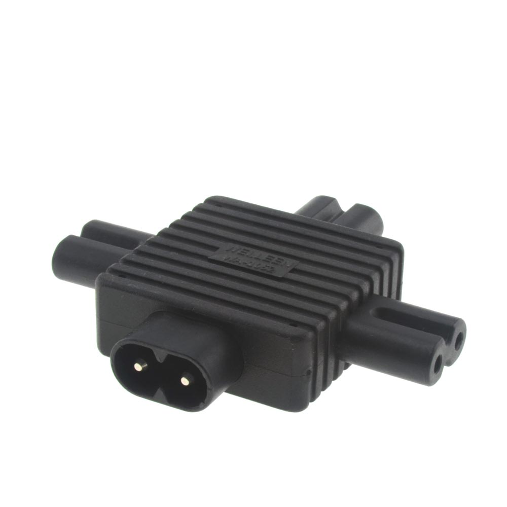 IEC 320 Figure 8 Male C8 to C7 Female (x3) Y Splitter Power Adapter and 1 in 3 Out Power Supply