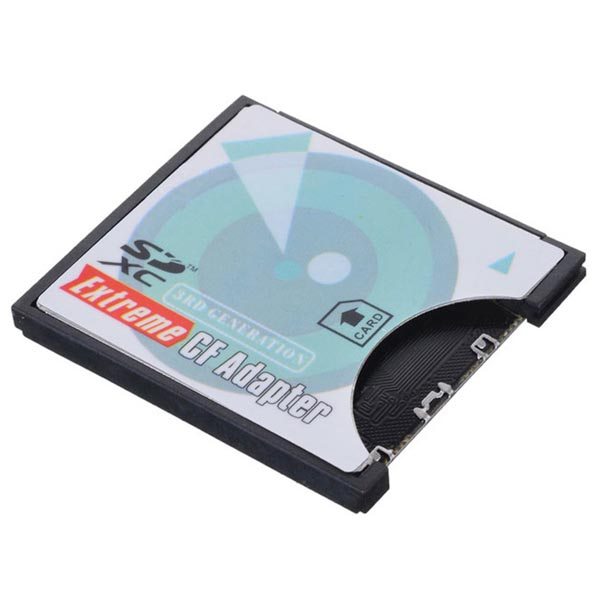Camera SD SDHC SDXC to High-Speed Extreme Compact Flash (CF) Type I Memory Card Adapter