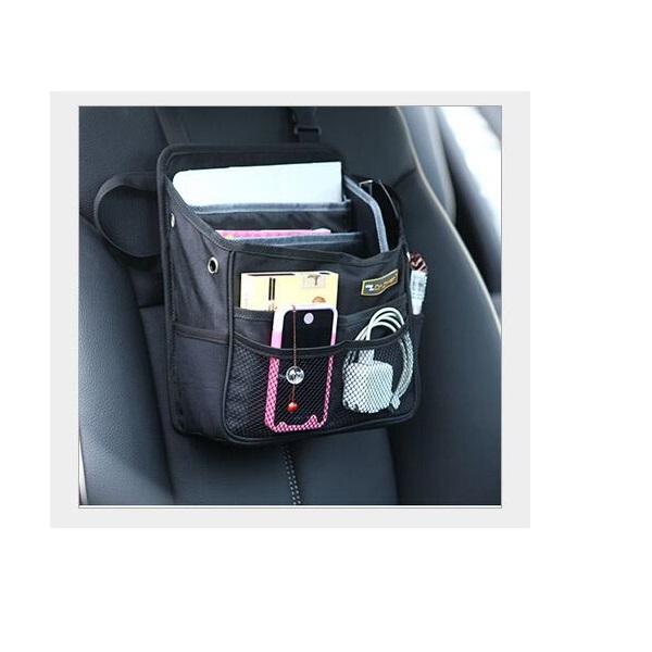 Car Back Seat (Headrest) Organizer II for Food, Drink Thermos Pocket / Tissue Holder / Mesh Pockets