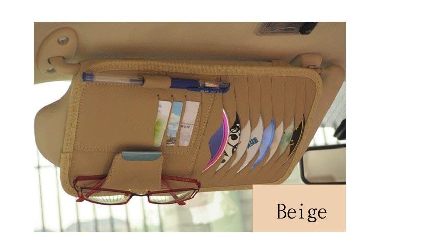 Multi-functional Sun Visor Organizer for 8-Pocket CD + 3 Credit Card + Pen Slot & Sun Glass Clipper
