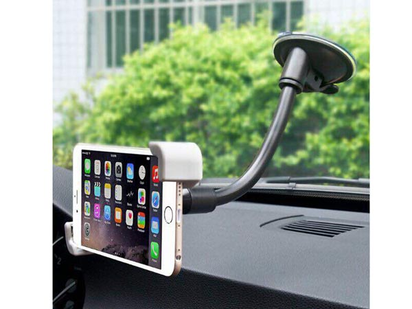 "Mobile Grip Holder with 7-Inch Flexible Windshield Suction Mount for Holding 3.5"" to 6"" Smartphones"