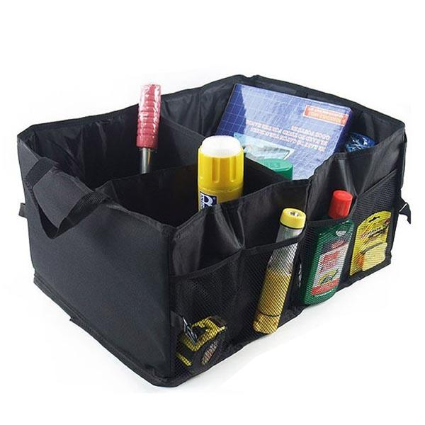 Folding Trunk Organizer for Car / SUV / MPV (Premium Oxford Nylon 3 Compartments with Side Pockets)