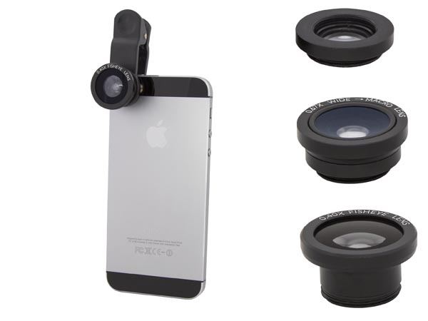 Cloth-Clip 2-in-1 0.4X Fisheye Lens / 0.67x Wide Angle Lens for iPhone, iPad, Camera Phone / Tablet