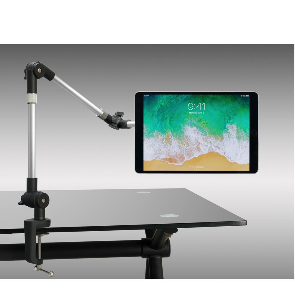 Articulating Fully Adjustable Desk Clamp Mount / Cabinet Mount for iPad Pro / Surface Pro / Tablet