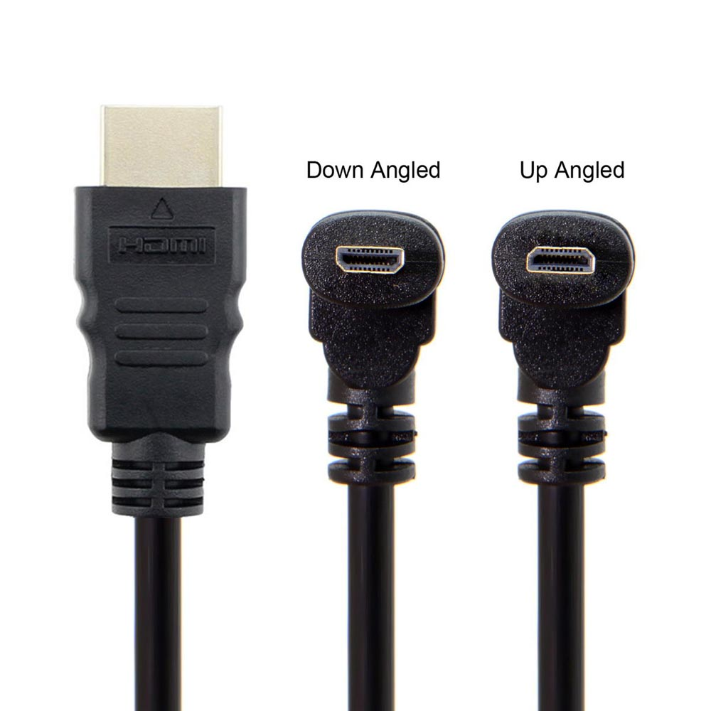 30cm 90 Degree Up Angled / Down Angled Micro HDMI Male to HDMI Male Extension Cable for Cell Phones
