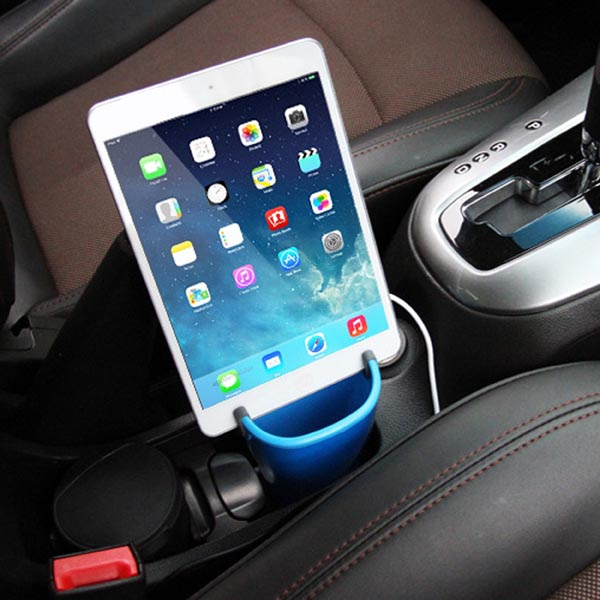 Multi-function Dual USB Car Charging Cup Mount / Holder for iPhone / iPad / Cell Phone / Tablet