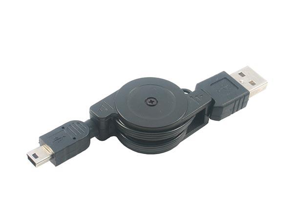 Retractable USB Cable (USB A Male - Mini USB Male Extension Cable)