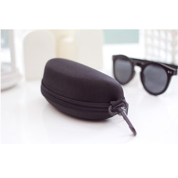 Semi Hard Black Eyeglass Case with Zipper and Belt Clip