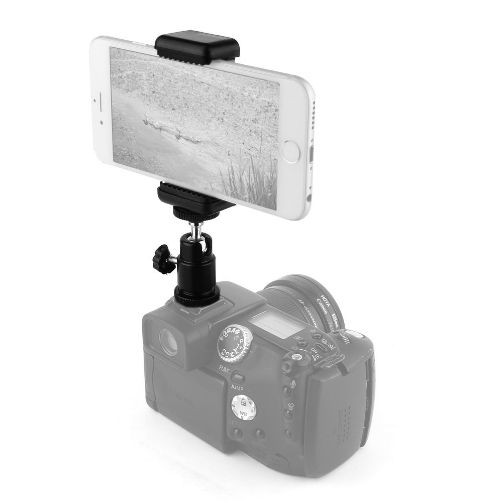 360° Ball Head Hot Shoe attaching Mount for iPhone / Smart Phone Clip, Adapter