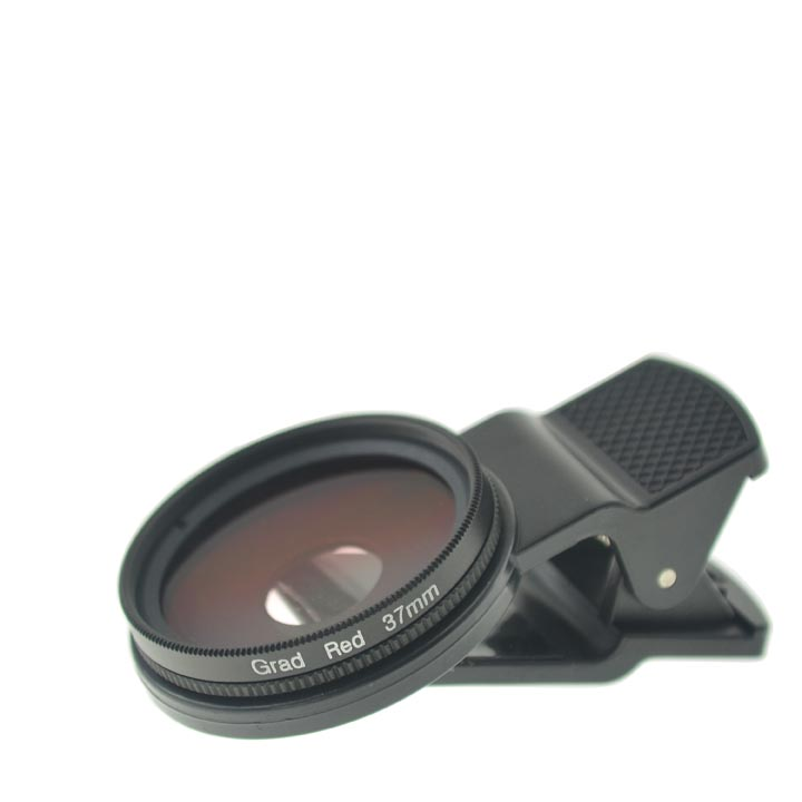 37mm Thread Cloth-Clip SLR Graduated Red Filter Lens for Camera Phones (iPhone / iPad / Cell Phones)