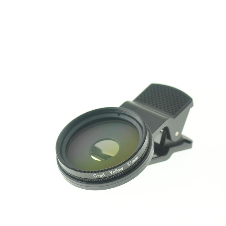 37mm Thread Cloth-Clip Graduated Yellow Filter Lens for Camera Phones (iPhone / iPad / Cell Phones)