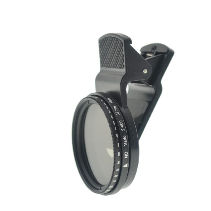 Cloth-Clip 37mm ND Vario 2-400 Lens (2-400 Adjustable Neutral Density) Filter Lens for Smart Phones