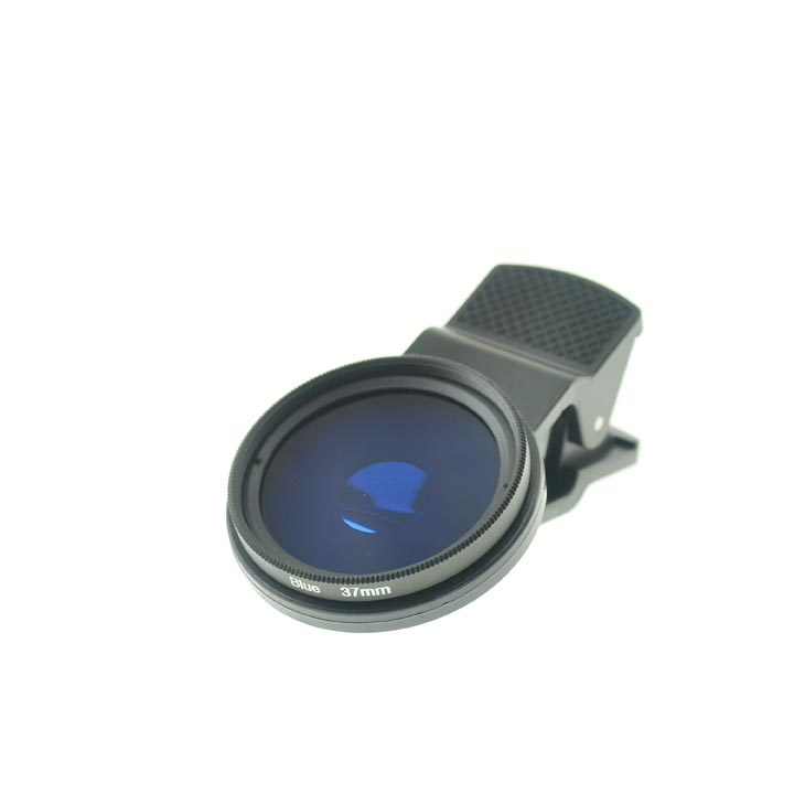 Cloth-Clip Pro 37mm Thread Grade 3 (#3) Solid Color BLUE Filter Lens for iPhone / iPad / Cell Phones