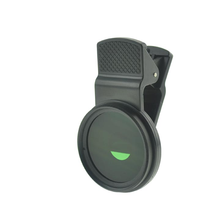 Cloth-Clip Pro 37mm Thread Grade 3 (#3) Solid Color Green Filter Lens for iPhone / iPad / CellPhones