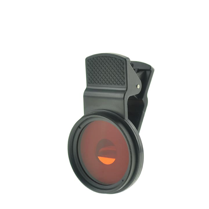 Cloth-Clip Pro 37mm Thread Grade 3 (#3) Solid Color Orange Filter Lens for iPhone, iPad / CellPhones
