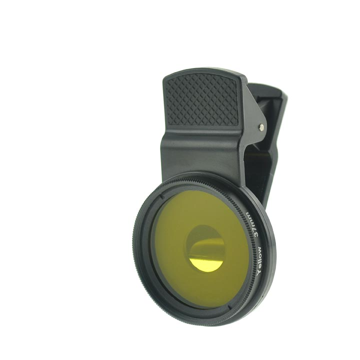 Cloth-Clip Pro 37mm Thread Grade 3 (#3) Solid Color Yellow Filter Lens for iPhone / Android Phones