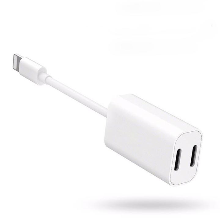 Lightning Male to 2 Female Lightning Y Splitter for Charging and headphone / Handsfree / Earphone