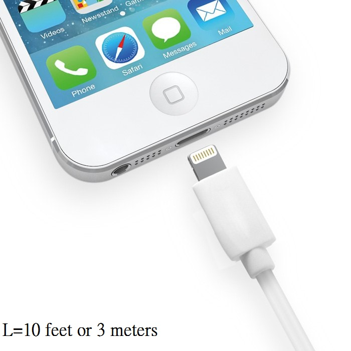 10 feet (3-meter) Extra Long 8pin Lighting Sync / Charger Cable for iPod Touch / iPad / iPhone
