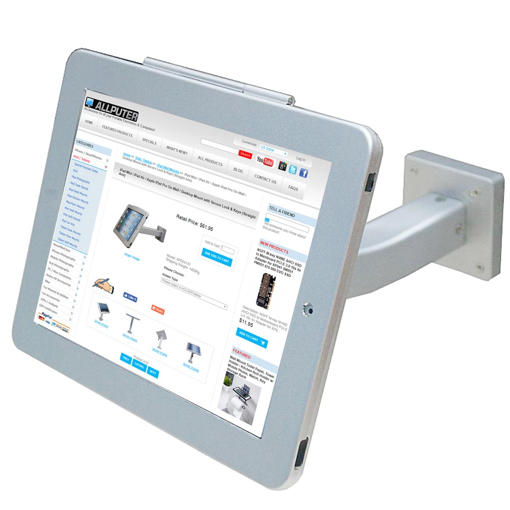 On-Wall / Ceiling Anti-Theft POS Stand Holder Enclosure with Lock & Keys for for iPad Pro 11.0""