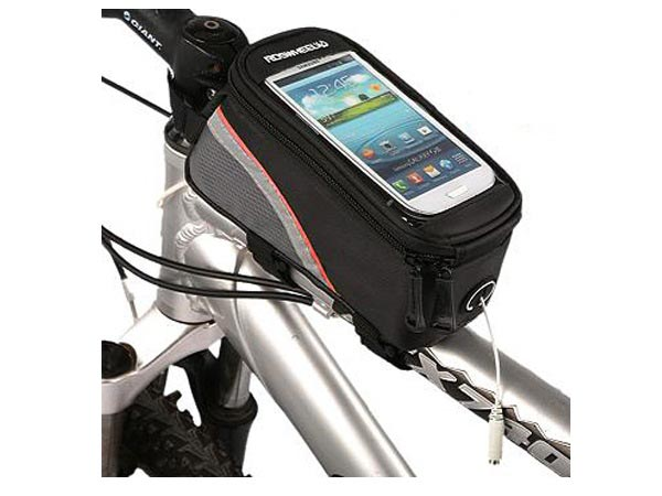 Bike / Bicycle Top Tube Belt Bag with 3.5mm Aux. Cable for 4.8 inches Screen Phone / iPhone